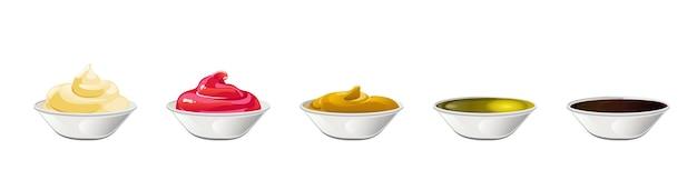 Ensemble de grandes sauces dans des bols