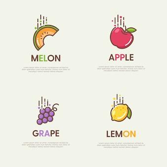 Ensemble de grands logos avec fruits plats décoratifs