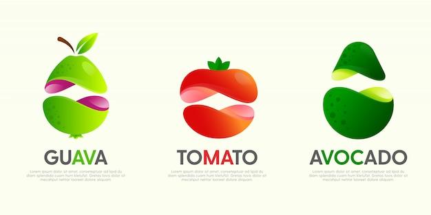 Ensemble de grands logos modernes avec des fruits décoratifs