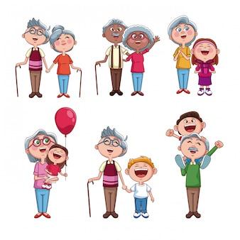 Ensemble de grands-parents avec enfants