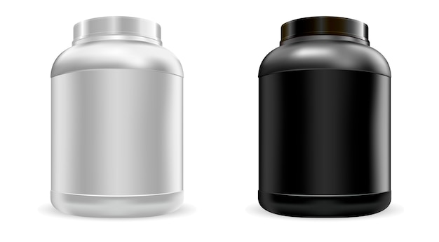 Ensemble de grands pots de protéines nutritionnelles. nourriture de sport