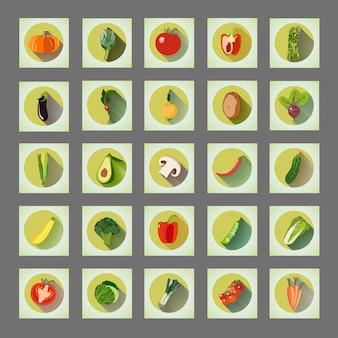 Ensemble graphique lumineux de légumes biologiques d'icônes