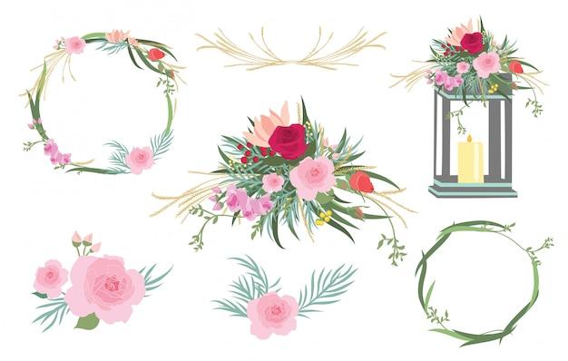 Ensemble graphique de mariage avec des éléments floraux.