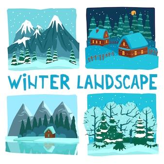 Ensemble graphique numérique paysage d'hiver