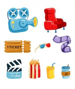 Ensemble graphique d'outils de cinéma