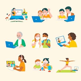 Ensemble graphique plat de caractère de vecteur d'éducation en ligne