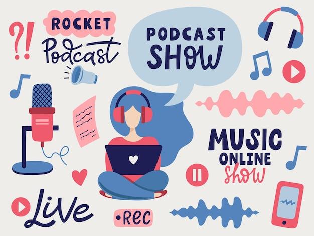 Ensemble graphique de podcast. illustration vectorielle dessinés à la main avec des éléments de microphone, de fille et de musique.
