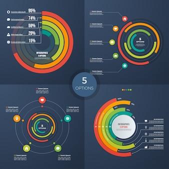 Ensemble de graphiques de cercle de présentation de vecteur 5 options