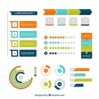 Ensemble de graphiques colorés en design plat