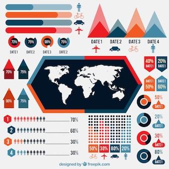 Ensemble de graphiques colorés pour infographique de voyage