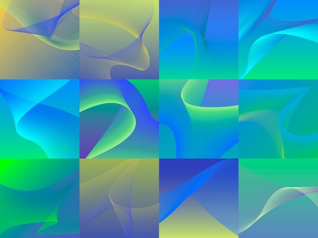 Ensemble de graphiques colorés de vagues 3d dynamiques