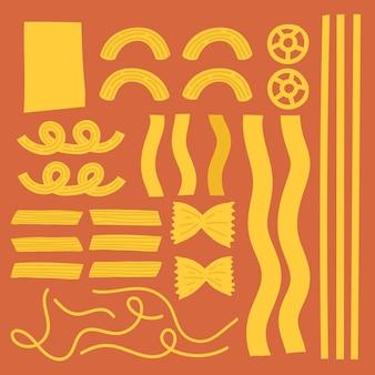 Ensemble de graphiques colorés de vecteur de griffonnage de nourriture de pâtes mignonnes