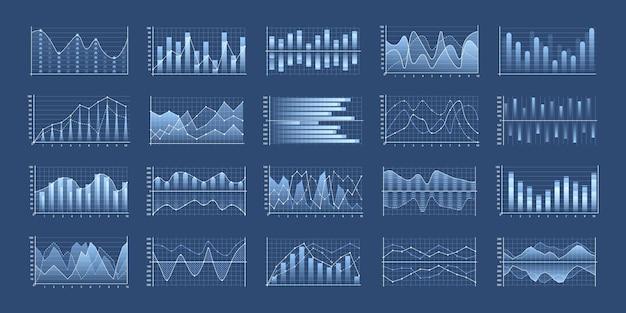 Ensemble de graphiques commerciaux et diagramme, organigramme de modèle infographique