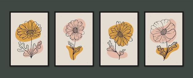Ensemble de graphiques de dessin à la main daisy art mural minimal et naturel