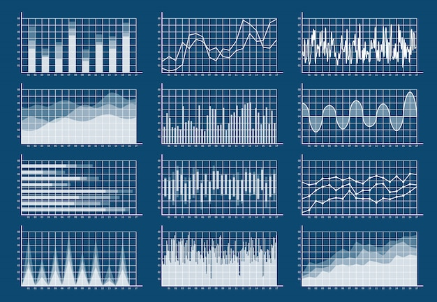 Ensemble de graphiques financiers. graphiques ligne finance commerce statistique croissance du marché analyse de diagramme d'affaires infographie plat