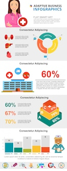 Ensemble de graphiques d'infographie de médecine ou de soins de santé coloré