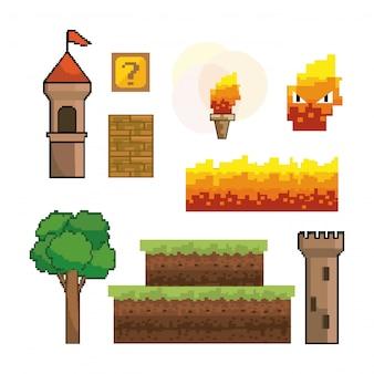Ensemble de graphisme de jeu vidéo pixelisé
