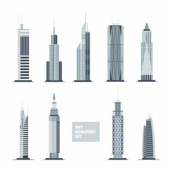 Ensemble de gratte-ciels. éléments de conception de la ville. collection d'architecture plate.