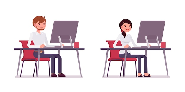 Ensemble de greffier homme et femme assis devant l'ordinateur