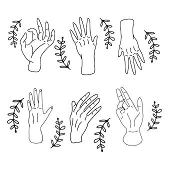 Ensemble de gribouillage de geste de la main