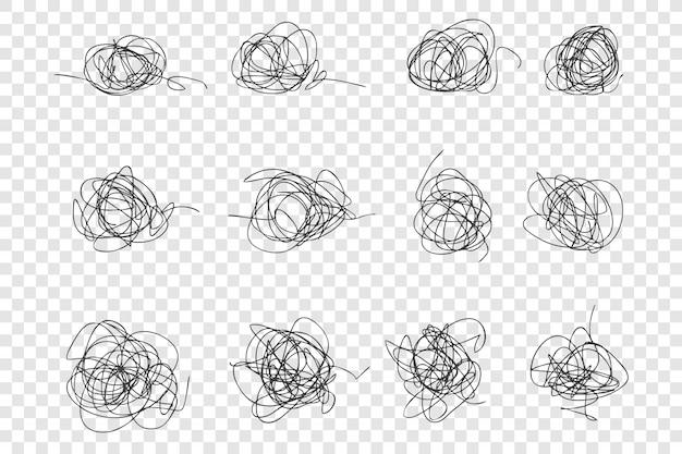 Ensemble de gribouillis dessinés à la main en désordre