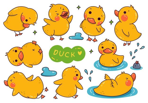 Ensemble de griffonnage de dessin animé de canard kawaii