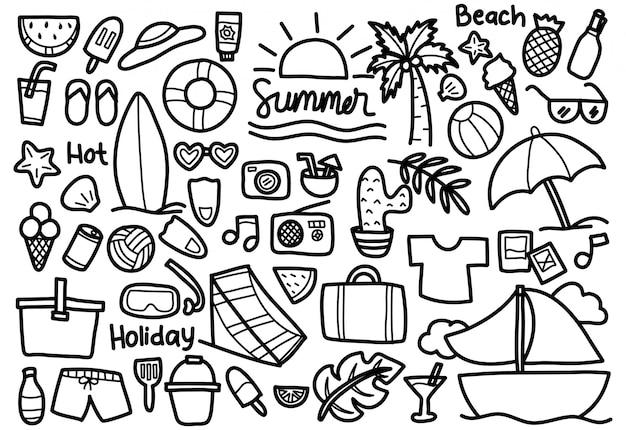Ensemble de griffonnage d'été