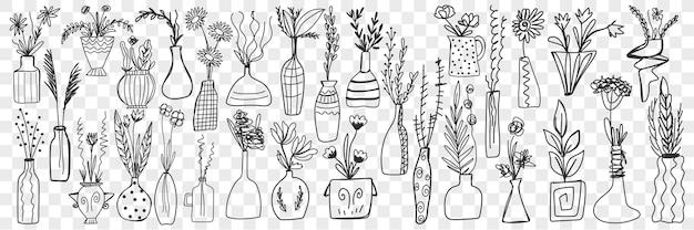 Ensemble de griffonnage de fleurs en pots