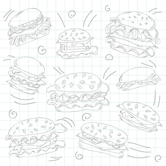 Ensemble de griffonnage de hamburger de restauration rapide - illustration vectorielle