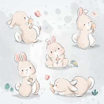 Ensemble de griffonnage lapin et carotte