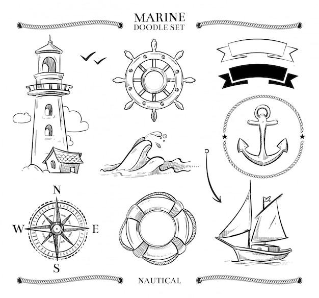 Ensemble de griffonnage marin
