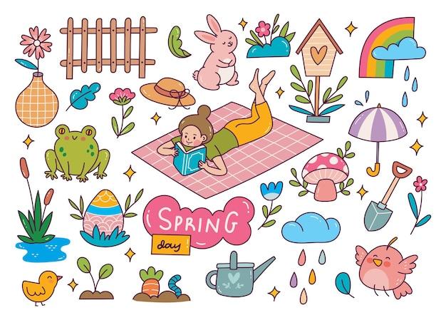 Ensemble de griffonnage de printemps.