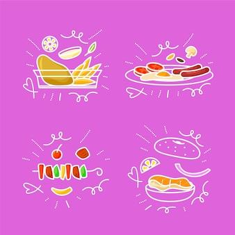 Ensemble de griffonnages alimentaires dessinés à la main