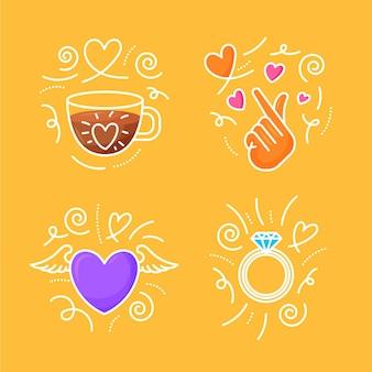 Ensemble de griffonnages d'amour dessinés à la main