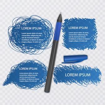 Ensemble de griffonnages. collection de gribouillis. croquis à l'encre de couleur bleue avec un stylo réaliste. illustration
