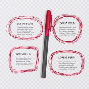 Ensemble de griffonnages. collection de gribouillis. croquis à l'encre de couleur rouge avec un stylo réaliste. illustration
