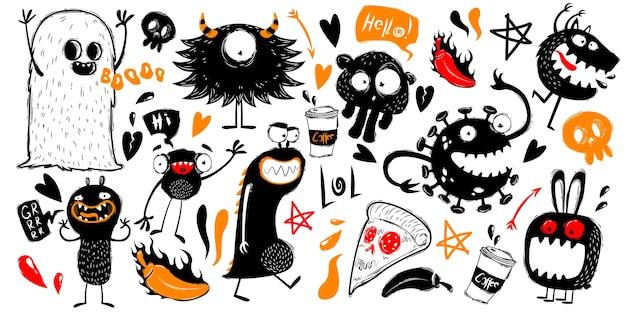 Ensemble de griffonnages drôles avec des monstres