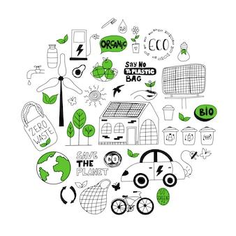 Ensemble de griffonnages écologiques dessinés à la main