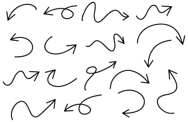 Ensemble de griffonnages de flèche dessinés à la main sur blanc