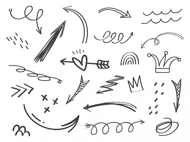 Ensemble de griffonnages de flèche dessinés à la main