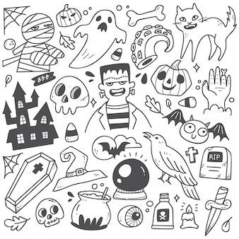 Ensemble de griffonnages d'halloween mignons