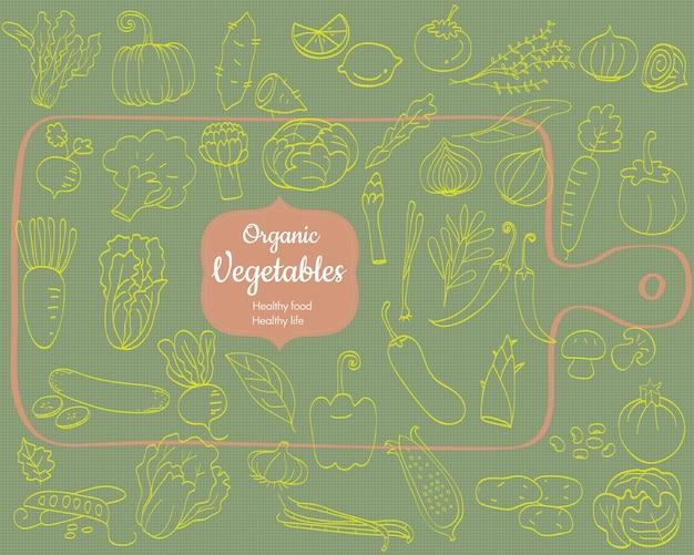 Ensemble de griffonnages de légumes