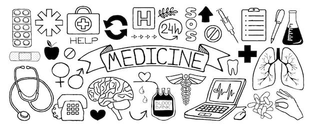 Ensemble de griffonnages médicaux d'icônes isolé sur fond blanc