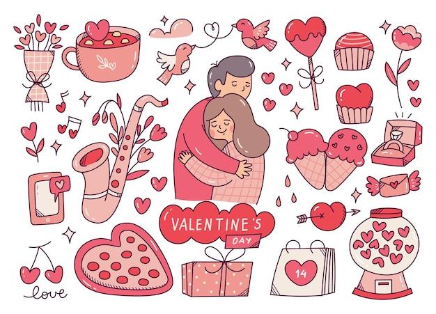 Ensemble de griffonnages mignons de la saint-valentin