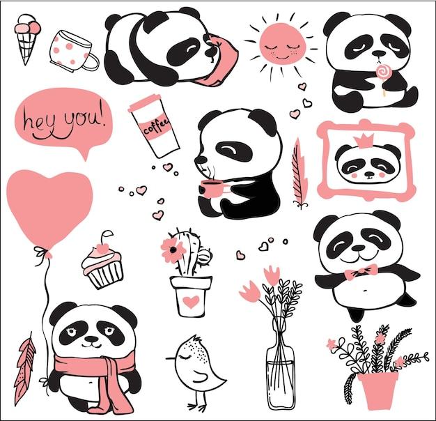 Ensemble de griffonnages de panda dessinés à la main, ours panda dans différentes positions et émotions