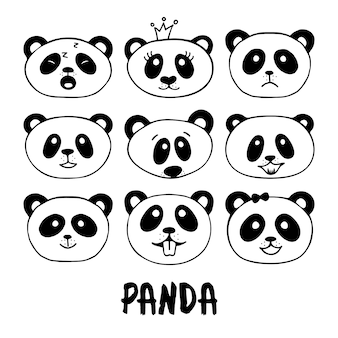 Ensemble de griffonnages de panda dessinés à la main.