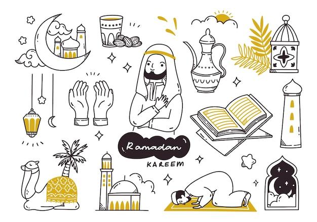 Ensemble de griffonnages de ramadan kareem