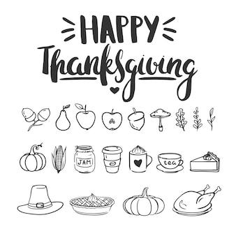 Ensemble de griffonnages de thanksgiving vecteur isolé sur blanc illustration vectorielle avec des griffonnages dessinés à la main
