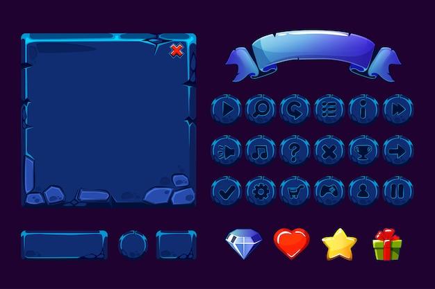 Ensemble de gros éléments et boutons en pierre bleue néon de dessin animé pour le jeu ui, icônes gui