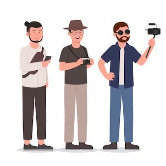 Ensemble, groupe, de, hipster, homme, à, gadget, plat, illustration